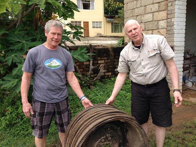 Ron Wayner and Dave Geerling with donated cable.