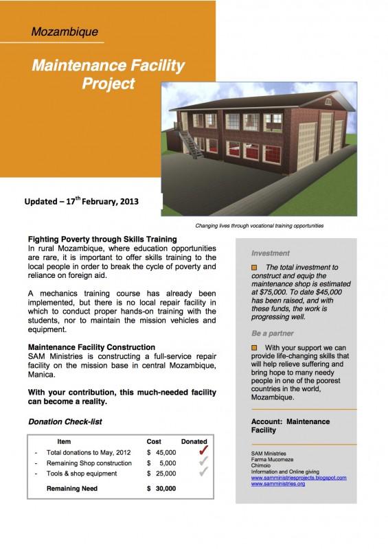 Feb. Update Maintenace Facility Project Executive Summary copy
