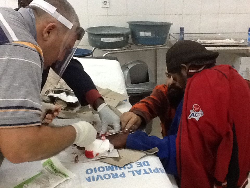 It was a group effort to make sure the injured hand was repaired to the best of the Dr.'s ability.