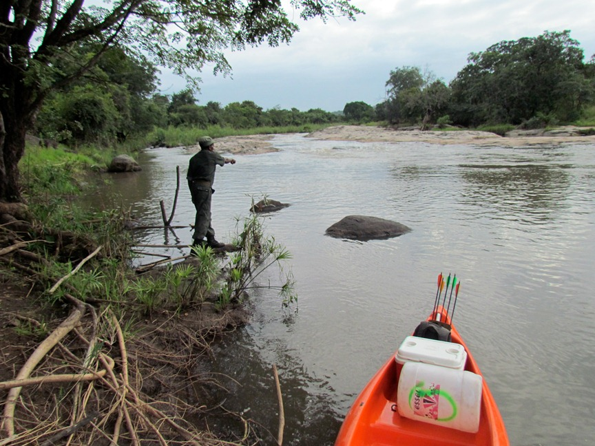 Rick with one of our guards hunting a crocodile!