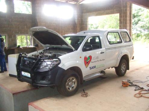Our emergency and support vehicle getting a service