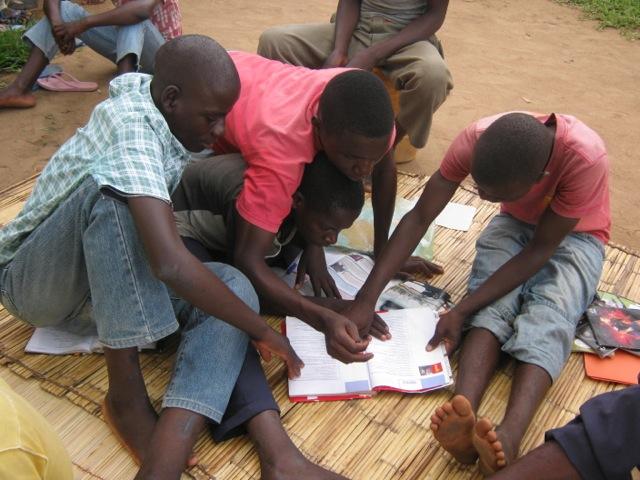 students gathered studying